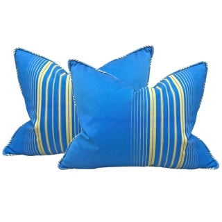 Pair of Early 20th Century French Striped Cotton Pillows For Sale