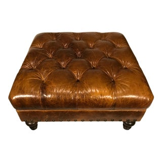 King Hickory Chesterfield Style Tufted Brown Leather Ottoman Footstool Square For Sale