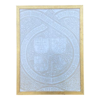 Cathedral of St. Sauveur Belgium Gold & White Rubbing in Gilt Frame For Sale