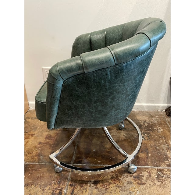 Art Deco 1970s Leather Channel Tufted and Chrome Desk Chair For Sale - Image 3 of 8