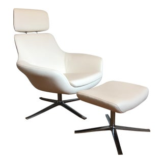 Pearson White Leather Lounge Chair & Ottoman