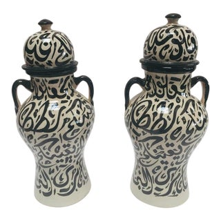 Moroccan Glazed Ceramic Urns With Arabic Calligraphy - a Pair For Sale