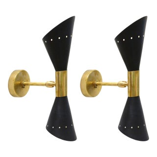 Adjustable 1950s Italian Stilnovo Wall Sconces W/ Brass Trim - a Pair For Sale