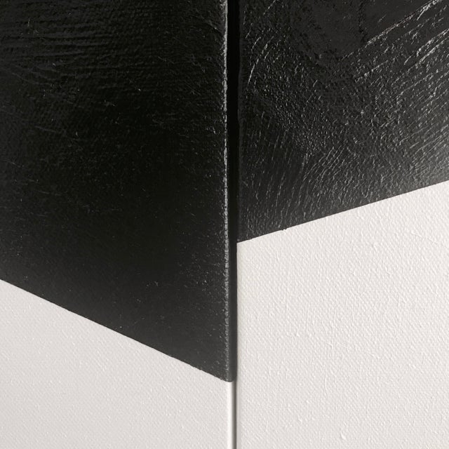 "Jason Trotter Original Acrylic Painting ""Black on Point Triptych Jet0462"" - Image 4 of 4"
