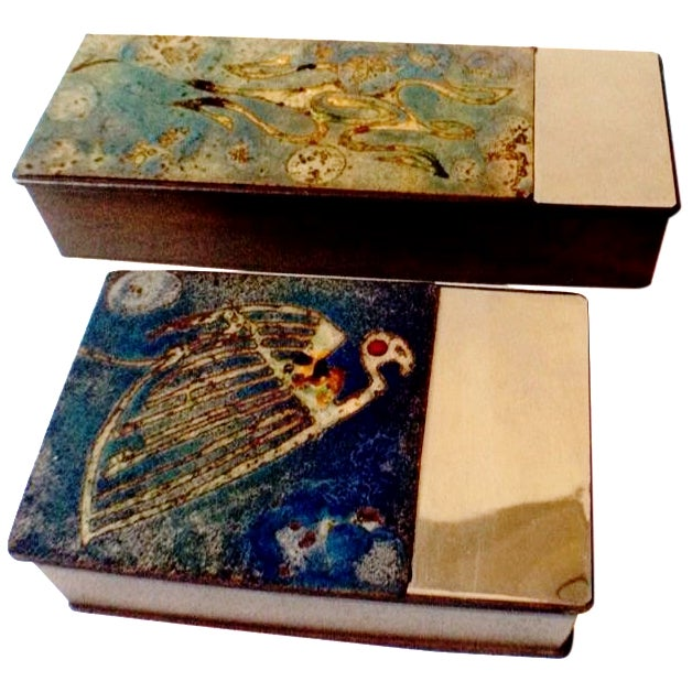 Argentinian Etched Boxes - A Pair - Image 1 of 8