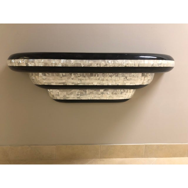1980s 1980s Vintage Design Concepts Mother of Pearl & Pen Shell Wall Hung Shelf and Mirror- A Pair For Sale - Image 5 of 13