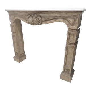 French Style Tessellated Marble Top Mantle