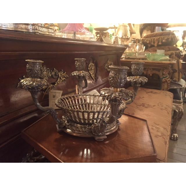 """French 1900s Silvered Bronze Candle Center Bowl Basket Holds 4 Candles with Basket bowl 12 1/2"""" W 12 1/2"""" D 6 1/2 """" Tall"""