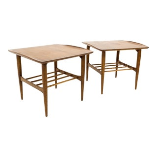 20th Century Danish Modern Bassett Walnut Side Tables - a Pair For Sale