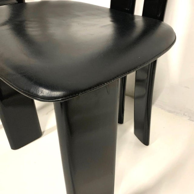 1970s Pierre Cardin Sculptural Black Lacquer Chairs With Leather Seats - Set of 4 For Sale In New York - Image 6 of 10