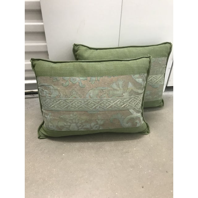2010s Fortuny Green Pillows - a Pair For Sale - Image 5 of 5