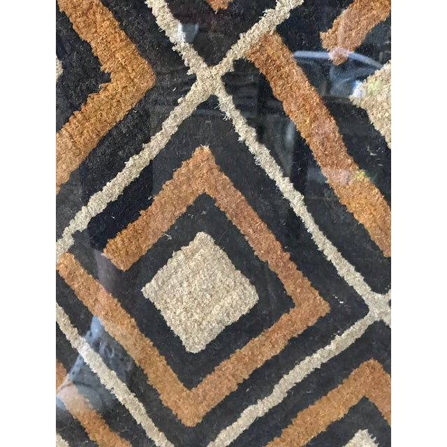 Antique African Diamond Pattern Kuba Cloth Tapestry in Custom Frame For Sale - Image 4 of 7