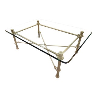 Ethan Allen Iron & Beveled Glass Coffee Table For Sale