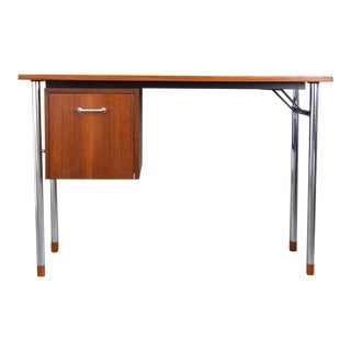 Very Rare Aksel Bender Madsen & Ejner Larsen Danish Teak & Steel Desk For Sale