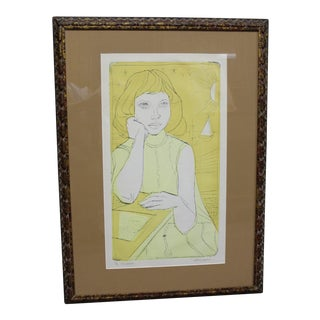 Mid Century Irving Amen Original Lithograph, Signed For Sale