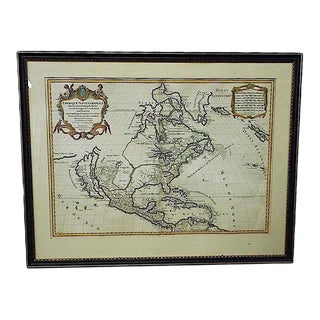 Large Antique 17th C. Map-N. America To N. Tip Of S. America-Framed For Sale