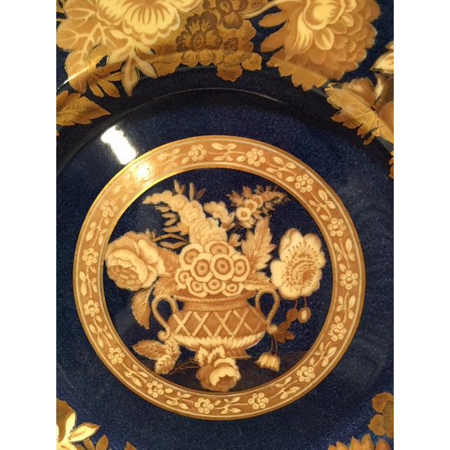 English Traditional Spode Blue & Gold Floral Service Plates - Set of 12 For Sale - Image 3 of 10