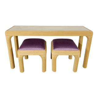 Postmodern Pencil Reed Console Table With Ottoman Pair For Sale