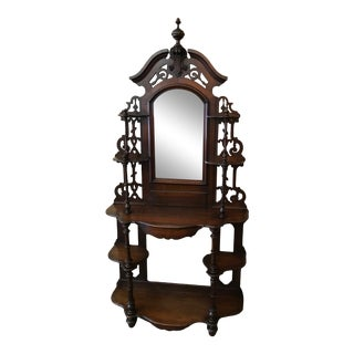 Antique Victorian Walnut Tiered Etagere with Mirror For Sale