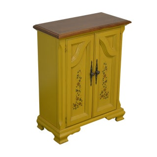 Hitchcock Style Yellow Painted Small Maple Cabinet Console For Sale