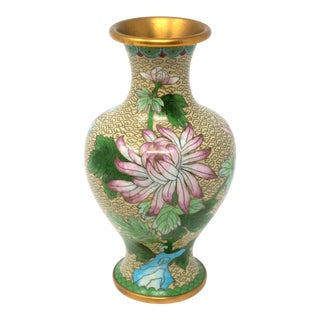 Vintage Cloisonne Vase With Mums and Cherry Blossoms For Sale