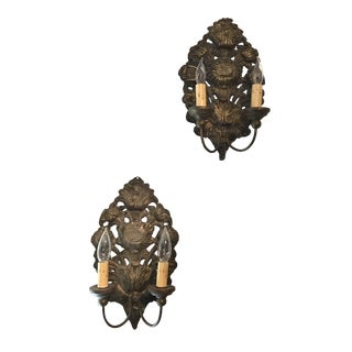 French Pressed Brass Silver Sconce in Sunflower Design -A Pair For Sale