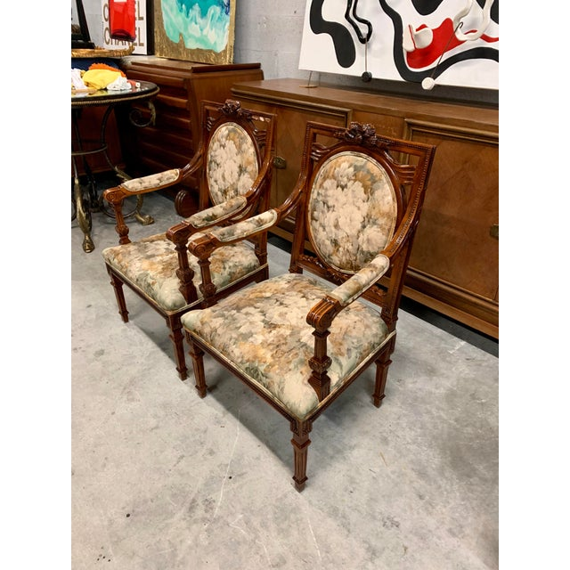 1920s Vintage French Louis XVI Solid Mahogany Accent Chairs or Bergère Chairs - a Pair For Sale - Image 4 of 13