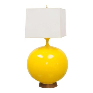 Round Yellow Ceramic Lamp For Sale