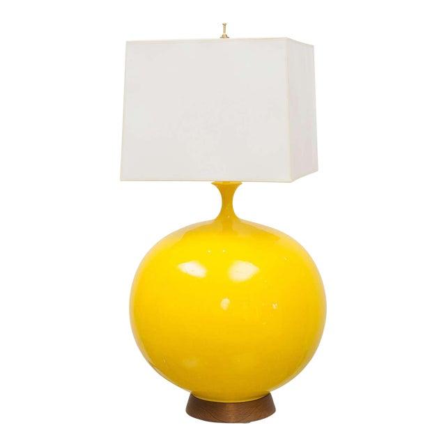 Round Yellow Ceramic Lamp For Sale