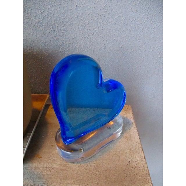 Blue Shlomi Haziza Blue Heart Lucite Sculpture Modern Modernist Art For Sale - Image 8 of 9