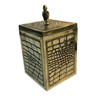 1930s Vintage English Brass Tea Caddy For Sale