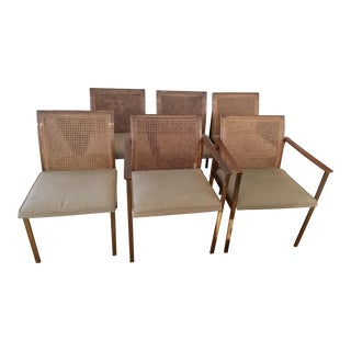 Mid-Century Modern Rosewood and Cane Dining Chairs by Lane Furniture - Set of 6 For Sale