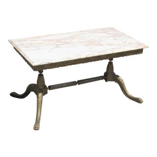 Monumental French Maison Jansen Coffee or Cocktail Table Bronze Rectangular With Beige Onyx Top Circa 1940s