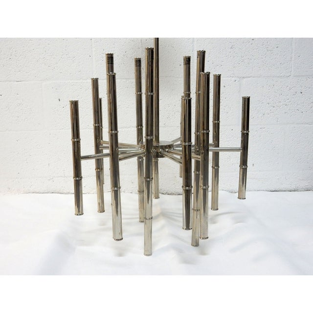 Faux Bamboo Chrome Chandelier - Image 3 of 9