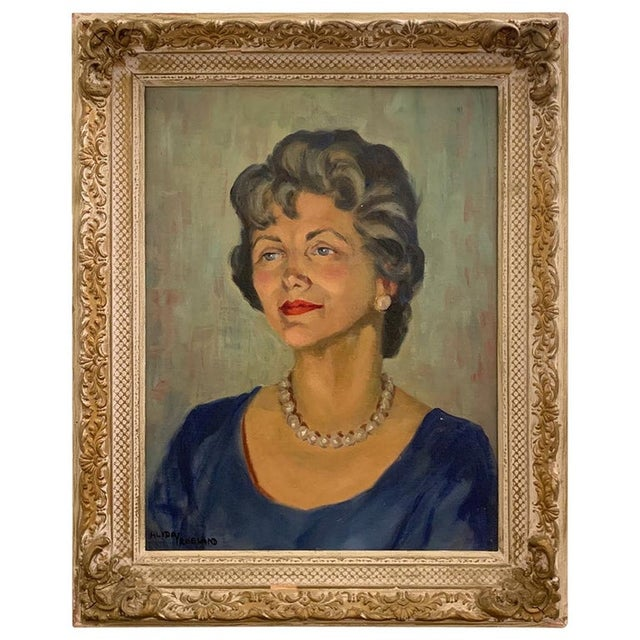 Mid 20th Century 950s Portrait Painting, Woman With Pearls, Alberta Winchester by Alida Vreeland For Sale - Image 5 of 5