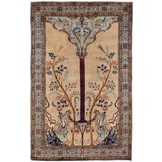 "Antique Persian Tabriz Rug, 4'1"" X 6'4"" For Sale"