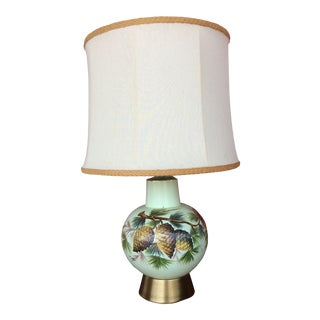1980s Artist Signed Porcelain Lamp With Painted Pine Cones With Shade For Sale