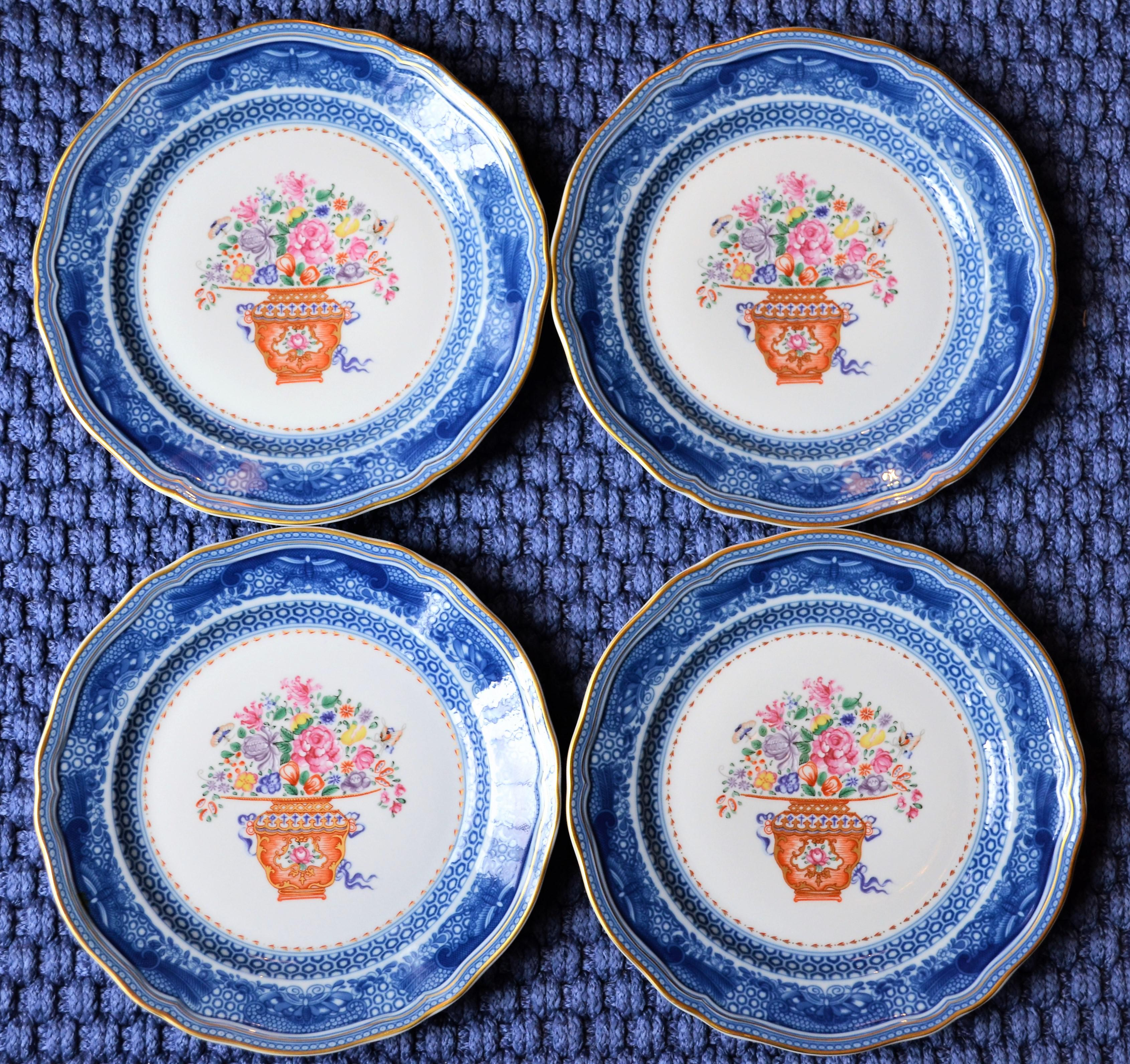 Famile Rose Chinese Import Mottahedeh Plates - Set 4 ( Three Set of Four Available & Famile Rose Chinese Import Mottahedeh Plates - Set 4 ( Three Set ...