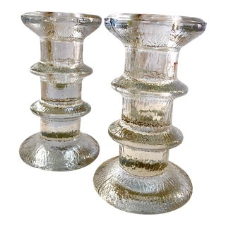 1970s Timo Sarpeneva Festiva Candlestick Holders for Littala Finland - a Pair For Sale