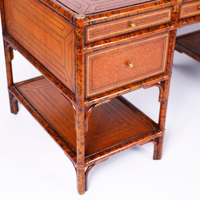 Maitland - Smith Midcentury Faux Tortoise Leather Topped Desk by Maitland-Smith For Sale - Image 4 of 10