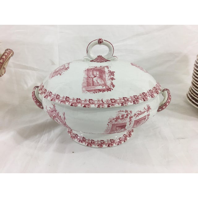 Red and White Digoin & Sarreguemines Faience Dinner Set - Set of 26 For Sale - Image 6 of 13