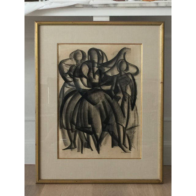 Framed Cubist Charcoal Painting - Image 4 of 6