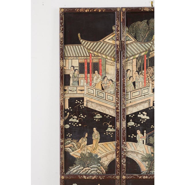 Asian Chinese Export Three-Panel Lacquered Coromandel Screen For Sale - Image 3 of 13