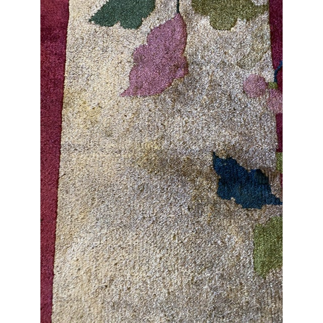 """Red Chinese Art Deco Rug 139"""" X 107"""" For Sale - Image 8 of 10"""