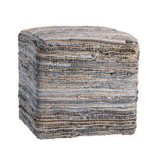 Jute & Denim Cube Ottoman For Sale