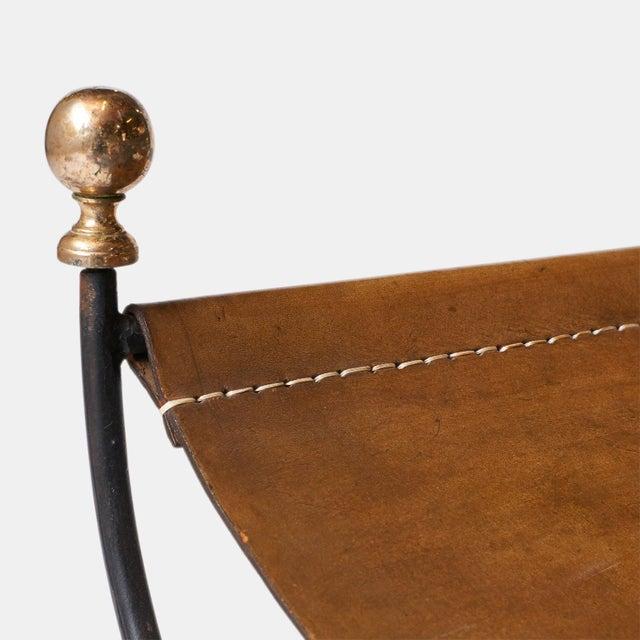 Jacques Adnet safari chair and ottoman set - Image 7 of 8