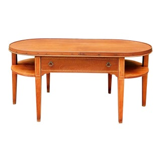 Antique Mahogany Inlaid Coffee Table For Sale