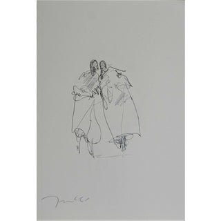 "Jose Trujillo ""Couples"" Expressionist Pen Ink Drawing For Sale"