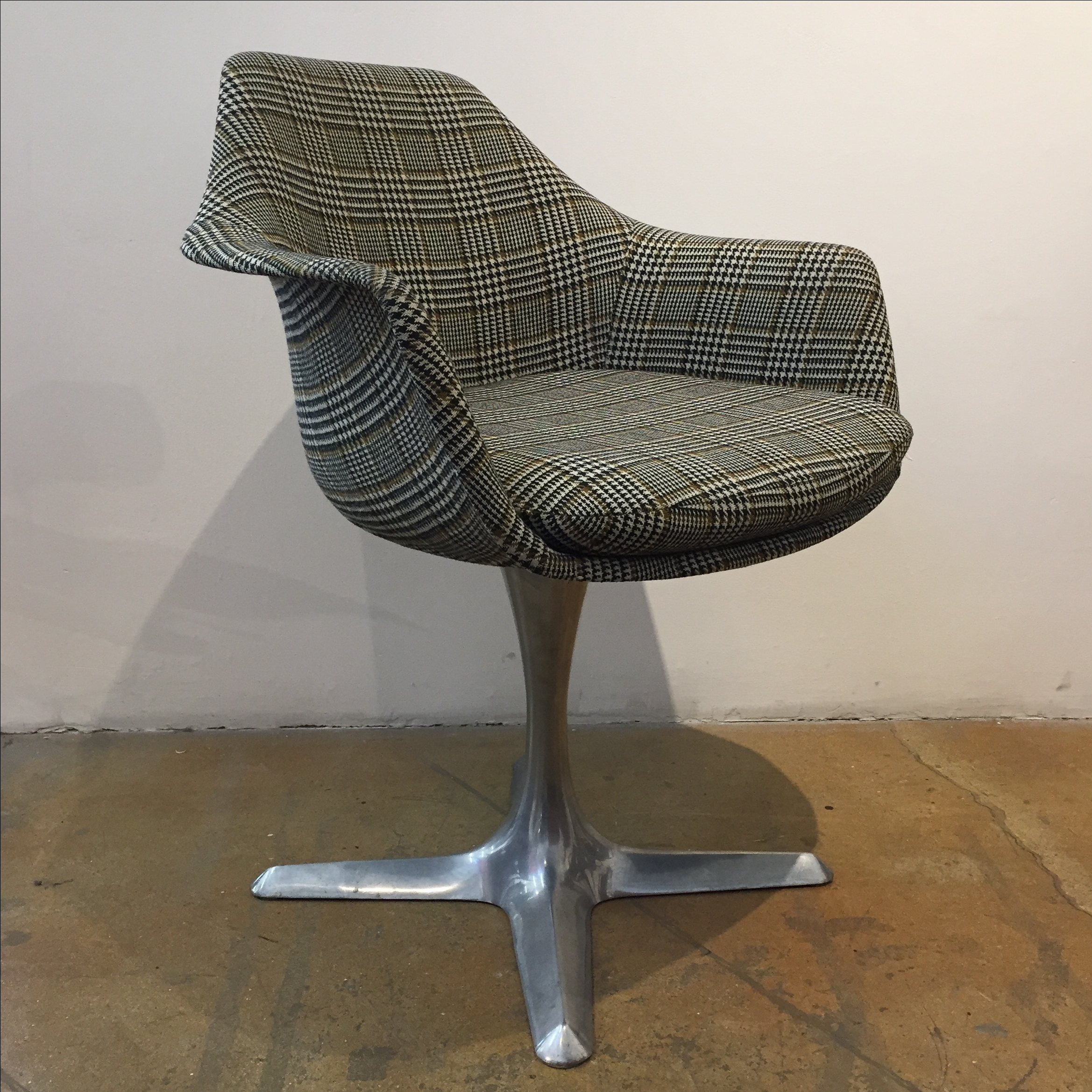 Burke Tulip Chair Plaid Upholstered   Image 2 Of 3