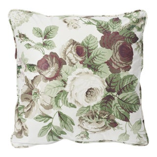 Schumacher Double-Sided Pillow in Nancy Glazed Cotton Print For Sale